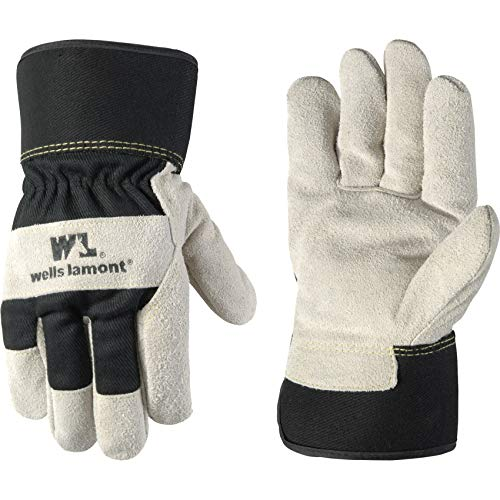 Men s Heavy Duty Leather Palm Winter Work Gloves with Safety Cuff (Wells Lamont 5130L), Black, Large