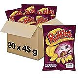 Pack 20 Bolsas de Ruffles Jamón Patatas Fritas, clásicas patatas crujientes, 20 x 45 g, 900 g