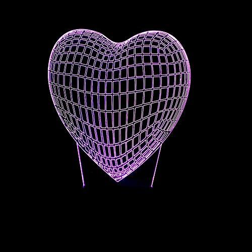 3D optische illusie lampen Een hart van de liefde LED 7 kleuren touch schakelaar veranderen nachtlicht voor slaapkamer Home Decoratie verjaardag Kerstmis cadeau