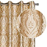 Viste tu hogar Pack 2 Cortina Decorativa con Estampado Estilo Flores Árabes, Moderna y Elegante con un Diseño Único para Salón o Habitación, 2 Piezas, 145X260 CM, en Color Beige