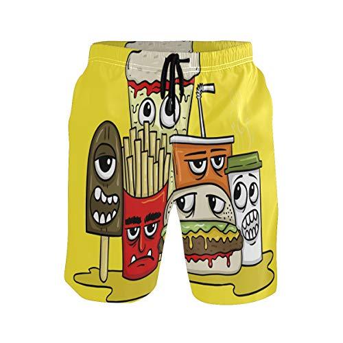 BONIPE Herren Badehose Funny Fast Food Pommes Hamburger Cola Ice Cream Quick Dry Boardshorts mit Kordelzug und Taschen Gr. XXL, mehrfarbig