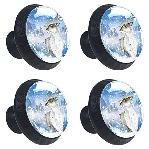 KAMEARI 4 pomos de cajón con forma de círculo de cristal de ciervo en la nieve con tornillos para el hogar, la cocina y la oficina