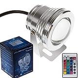 Winbang Luces Submarinas, Luz Subacuática, IP65 10W RGB LED Fuente Subacuática con Control Remoto Proyector Piscina Estanque Pecera Acuario Lámpara de Luz LED DC 12V