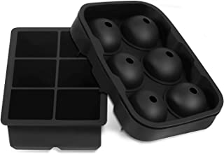 Large Size Ice Maker Hold Silicone Cube Tray and Ball Tray (Set of 2) - Black