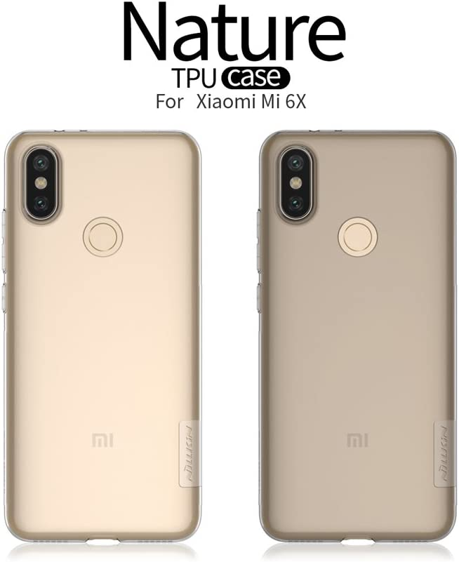 Nillkin Nature - Funda Carcasa Protectora Trasera de Gel/TPU/Silicona Flexible Antideslizante Case Super Fina para Xiaomi Mi 6X - Gris