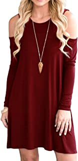 Women's Cold Shoulder Tunic Top Swing T-Shirt Loose Dress with Pockets