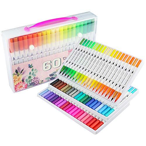 Rotulador de colorear, rotulador pincel, 60 colores con bolígrafos, punta fina de 0,4 mm para dibujar doble punta rotulador de arte acuarela para pintura, bocetos diarios, mandalas y banda de dibujo.