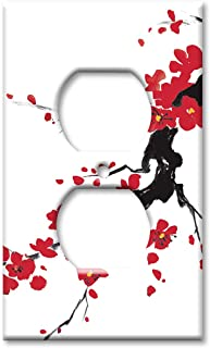 Art Plates OVER SIZED Outlet Cover/OVERSIZE Outlet Switch Plate - Red Blossoms