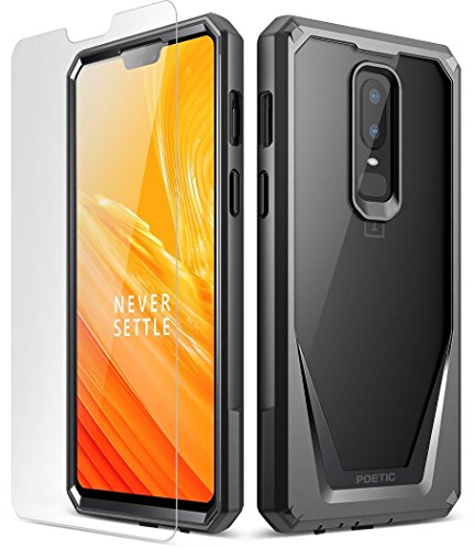 Poetic OnePlus 6 Case, Guardian [Scratch Resistant] [360 Degree Protection] Full-Body Rugged Clear Bumper Case [with Tempered Glass] for OnePlus 6 - Black