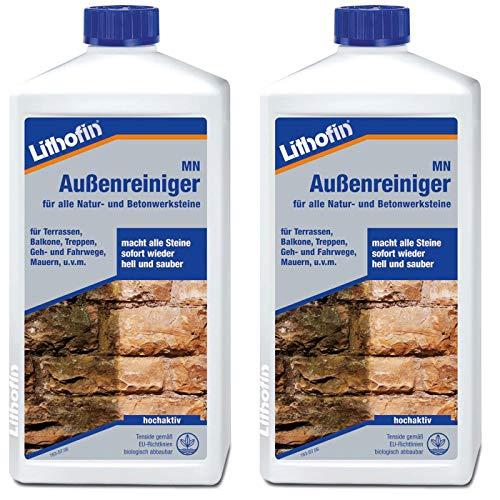 Lithofin MN Außenreiniger 2 l - wirkt schnell und gründlich & materialschonend - Natur- Betonwerkstein intensiv & gründlich reinigen