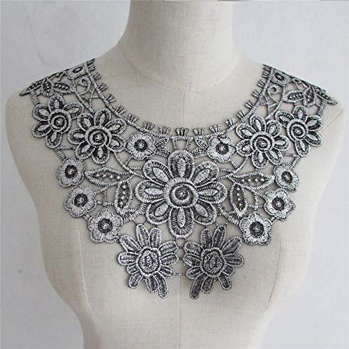 Nuevo tipo de plata bordado flor encaje corte tela DIY cuello costura artesanía costura costura costura costura costura costura costura costura artesanía decoración 1 pieza vendido YL703