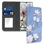 kwmobile Case Compatible with Huawei P30 Pro - Cover with Card Slots and Mirror - Magnolias Taupe/White/Blue Grey