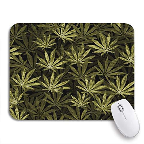 MIGAGA Gaming-Mauspad,Menge Cannabisblätter auf Aquarell Die Pflanze Sativa,Rutschfest Verschleißfestes Und Haltbares Gummi,Mousepad Für Bürocomputer,9.5