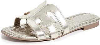 Women's Flat Slide Sandals Cutout Leather Open Toe Slip on Sandals for Summer