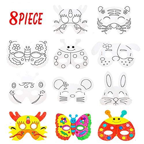 XUNKE 8 Pack Masken zum Ausmalen,Masken zum Bemalen Kinder,Weiße Kartenaugenmasken Farbe in Tiergesichtsmasken mit Elastischem Seil,Ideal zum Kindergeburtstag und Karneval