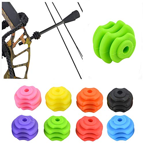 Archery Compound Bow String Stop Suppressor Stabilizer Ball Rubber String Shock Absorber Bow String Decelerator Vibration Silencers (Green)