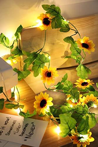 Guirnalda de luces LED de 7.2 pies/20 girasoles artificiales de seda con girasoles artificiales, funciona con pilas para decoración del hogar, jardín, boda, fiesta (girasoles de 2,2 m, 20 luces)