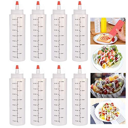 8pcs Bottiglia Squeeze di Plastica, 250ml Flacone Dosatore Plastica con Tappi, Prova di Perdite, Senza BPA, Trasparente Condimento Dispenser per Salsa Condimento Ketchup Maionese Olio Sciroppo