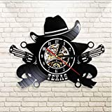 TIANZly Texas Cowboy Wall Clock Western USA Skyline Symbol Vinyl Record Reloj de Pared Wild West Vintage Rodeo Revólveres Western Wall Decor con LED