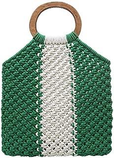 TOOGOO Women'S Color Cotton Woven Bag Female Retro Wooden Handle Handbag Portable Beach Bag Green