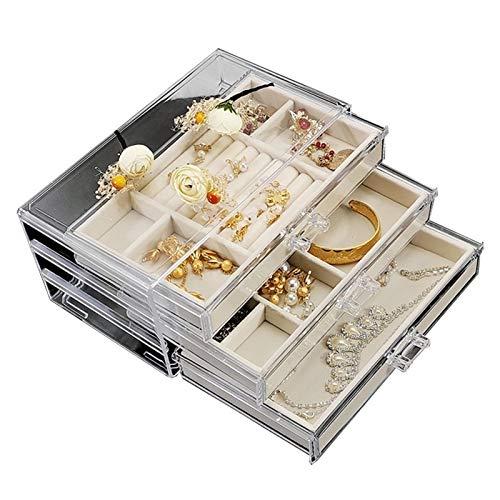 xiaofeng214 Pendientes, Pendientes, Caja de Almacenamiento de Joyas, Collar, Caja de Joyería Transparente Acrílico, Cajón de Joyería Pequeña, Caja de Almacenamiento de Mesa