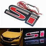 3D LED Red SI Badge Emblem Light Front Grille Ornament Emblem For Honda Civic
