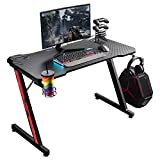 Homall Gaming Desk 43.6 inch Computer Home Office Table Desk Z Shaped PC Gaming Table Workstation with Carbon Fiber Surface Cup Holder & Headphone Hook (Black)