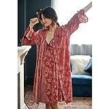 YHSW Pijama,camisón de Dos Piezas,camisón con Tirantes Sexy,Terciopelo Dorado Largo Elegante y Noble (Apto para 45-55 kg)