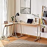 CO-Z Escritorio Esquinero en L de Ordenador para Oficina o Casa 99X64X75CM Mesa en L con Bandeja de Cables Escritorio en Forma de L para Estudios/Gaming (Roble)