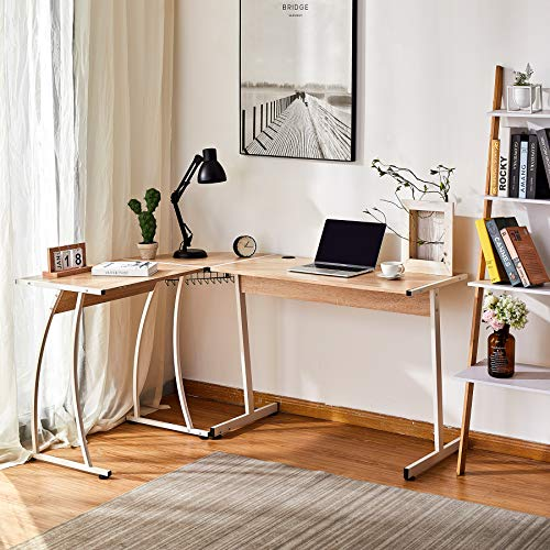 VONLUCE L Shaped Computer Desk | Corner Desk with Cable Management | Space-Saving 148x112X75CM Home Office Desk for Studying Writing and More | Simple Modern Gaming Desk for Home Office, Oak