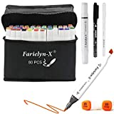 Alcohol Markers for Adults, Kids - 80 Farielyn-X Color Dual Tip Sketch Markers with Bonus Fineliner Pen, Colorless Blender, Carry Case Included – Alcohol Based Ink Drawing Pens for Artists Coloring