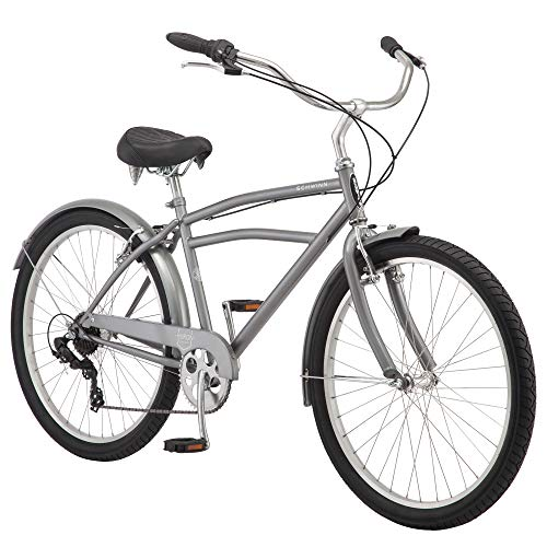 Schwinn Huron Adult Beach Cruiser Bike, Featuring 17-Inch/Medium Steel Step-Over Frames, 7-Speed Drivetrains, Grey