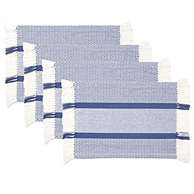 Sticky Toffee 4th of July Cotton Woven Placemat Set with Fringe, Traditional Diamond, 4 Pack, Blue, 14 in x 19 in