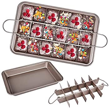 Brownie Pan with Dividers Divided Non Stick Edge Brownie Pans with Grips Slice Bakeware Cutter Tray Molds Square Cake Fudge Pan with Built-in Slicer lid for All Oven Baking 12X8 Inch Champagne Gold
