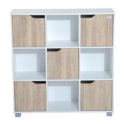 HomCom Estantería Baja Tipo Organizador Multifuncional de 3 Niveles - Color Blanco y Roble - 89.5 x 30 x 93cm