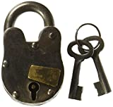 "Cast Iron Lock with 2 Keys Antique Replica with Working Mechanism 1"" x 3"" Treasure Pirate Padlock"