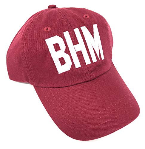 Embroidered BHM Birmingham-Shuttlesworth International Airport Code Baseball Hat (Red)