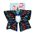 JoJo Siwa Bows for Girls - JoJo Siwa Rainbow Unicorn Black Hair Bow with Horn and Hair Clip Barrette - Perfect to Wear for School, Dress Up, Makeovers, Birthday, Party, Daily Wear, Cheer Bow