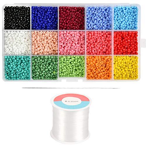 WOWOSS 15 Farbe 3mm Mini Glasperlen mit 500m Klarem Nylonfaden für Kinder DIY Armband Art & Jewellery-Making, Perlen Zum Auffädeln Perlenschnur Making Set, Fadeless Farbe