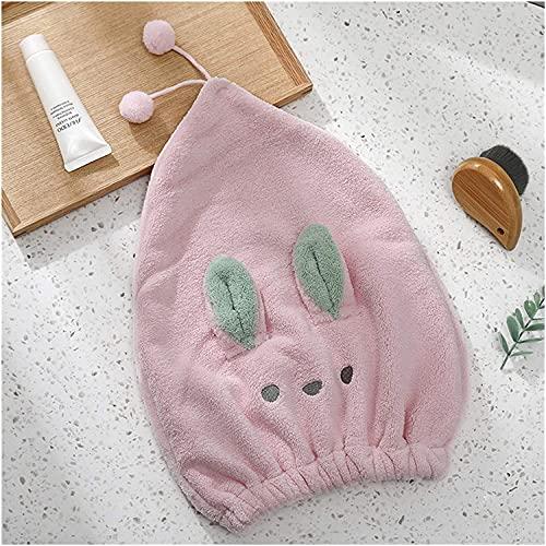 Casquette de cheveux secs Solide Heavy Hair Chapeau mignon Design Serviette Femmes Douche Serviettes de toilette à domicile Teinture textile bain serviette portable (Color : Pink)