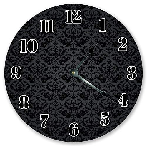 Reloj de pared redondo de madera con patrón de damasco, decoración de...