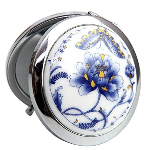Toruiwa Miroir de Maquillage en Métal avec Décoration Lotus Style Chinois Miroir de Poche Mirroir à Main Mirroir Portable Couleur Aléatoire