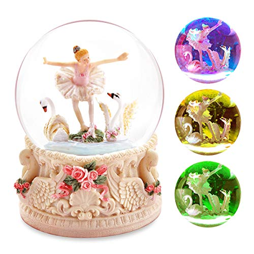 Swan Lake Snow Globe Gift - Music Box Birthday Christmas Valantine Anniversary Wind-up Snowflake Ballerina Dancing Ballet Musical Box with Led Light Present for Wife Girlfriend Daughter Mom Glitter