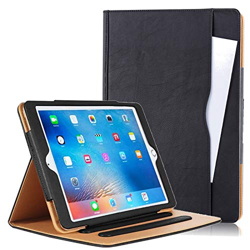 Executive Quality Black & Tan Leather Smart Flip Stand Case Cover for Apple iPad 9.7'' 2018 Edition, with Multiple Viewing Angles, Document Card Pocket and Auto Wake/Sleep Function