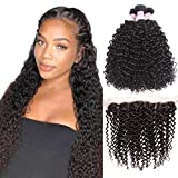 Beauty Forever Brazilian Virgin Curly Human Hair 13x4 ear to ear Full Lace Frontal Closure with 3 Bundles Curly Hair Weave Natural Color (18 20 22inch+14, free part frontal)