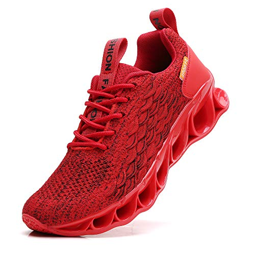TSIODFO Men red Running Shoes mesh Breathable Comfort Sport Athletic Walking Sneakers Fashion Runner Jogging Casual Tennis Trainers Youth Boys Shoes Size 8