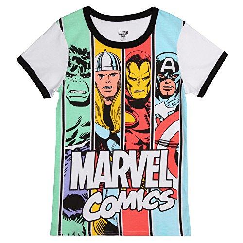 Marvel Comics Hero Caras Juniors Camiseta de Timbre - Multi -