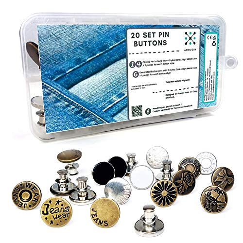 20 Sets Snap Buttons Pins for Jeans, Tack Cloth Instant Metal Replacement Jean Button, No sew Needed for Jeans Jackets Leather, with Storage Box, in Metal, Brass/Copper