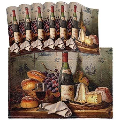 Hokdny Juego de 6 manteles individuales de cristal para botellas de vino tinto vintage, con pintura de queso, pan, resistente al calor, lavable, para decoración de mesa de comedor