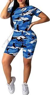 ThusFar Women's Tie Dye Short Shirt - 2 Piece Outfits Stripe Rainbow Floral T Shirts Bodycon Shorts Romper
